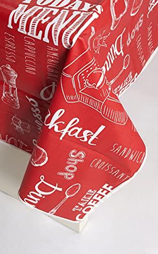 Galitex - Mantel Hule Rectangular, Ribete Cosido, diseño Moderno, Impermeable. Uso Interior y Exterior, Fabricado en EU (American Menu Rojo, 100 x 140 cm)