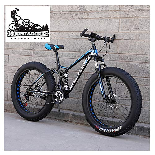 NENGGE Mountain Bike Biammortizzata con Doppia Freni a Disco, Adulti Uomo Donna Pneumatico Grasso Bicicletta Mountain Bike, Acciaio ad Alto Tenore di Carbonio Biciclette,New Blue 1,24 inch 7 Speed
