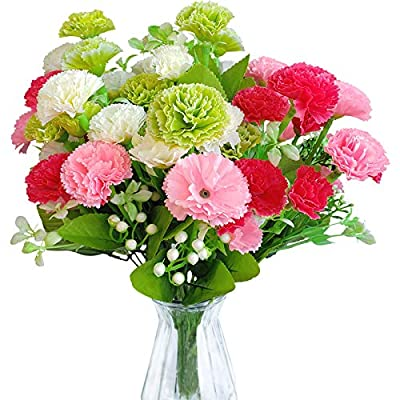 EverWin Artificial Fake Flowers for Decoration Table Centerpieces - Silk Faux Flowers Carnations Bouquets with Stem Bulk for Outdoor Kitchen Home Decoration Crafts Table Centerpieces