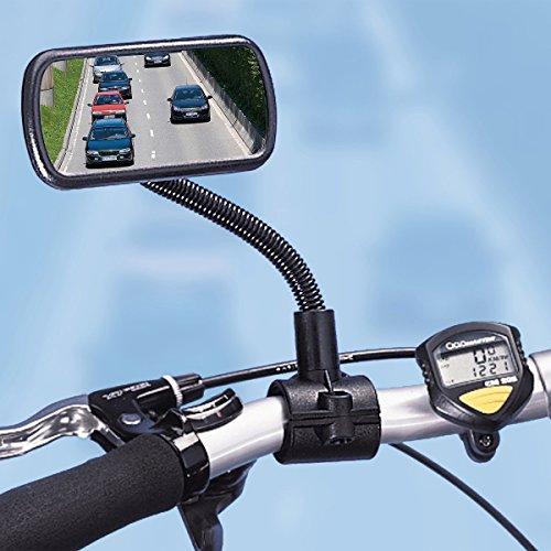 Flexi Fahrradspiegel für Lenker, Rückspiegel, Rücksitzkontrolle, Toter-Winkel-Spiegel, Kinderbeobachtung, Fahrradzubehör, schwarz, Kunststoff