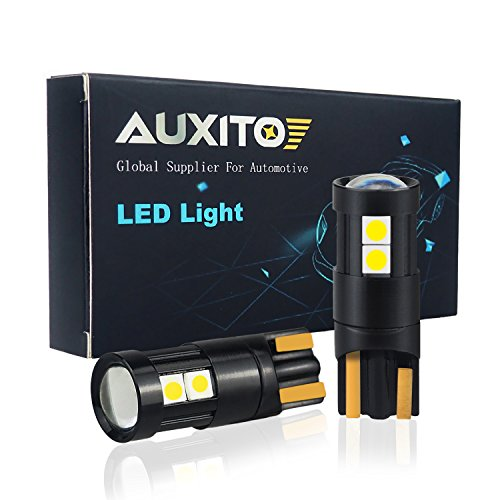 AUXITO 194 LED Light Bulb 9-SMD 3030 Chipsets 168 175 2825 W5W T10 Wedge LED Bulbs Xenon White for Dome Map Door Courtesy License Plate Lights (Pack of 2)