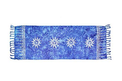 ManuMar sarong donna non trasparente come mini-gonna (155x55cm) | pareo bambini telo da mare | gonna a portafoglio | foulard leggero blu sfrangiato con motivo di sole | spiaggia |