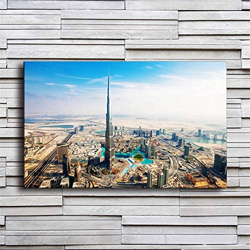 Rjjwai Wohnkultur Leinwand Malerei 1 Stück Dubai Burj Khalifa Turm Bilder Wandkunst Drucke Stadt Gebäude Poster Für Wohnzimmer Gerahmte Schlafzimmer 60x90cm