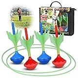 BRITENWAY Lawn Darts Game for Kids & Adults – Glow in The Dark Outdoor Yard Darts & 2 Ground Dart Target Rings – Fun Kid-Friendly Grass Dart Game for The Garden, Beach, Park, School- Great Gift Idea