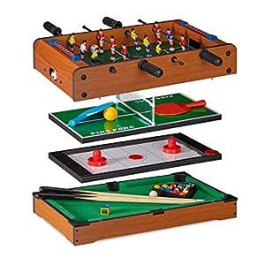 Relaxdays Mesa Multijuegos 4 en 1 Futbolín, Ping Pong, Billar y Hockey, DM, Marrón, 15 x 51 x 51 cm