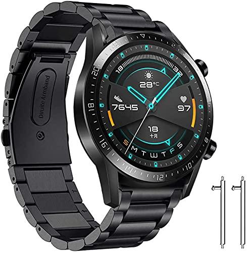 Diruite für Huawei Watch GT Armband Uhrenarmband,22mm Galvanisieren Edelstahl Metall Mit Doppelt Faltschließe für Huawei Watch GT/GT 2e/GT 2 (46 mm) Ersatzarmbänder-Schwarz