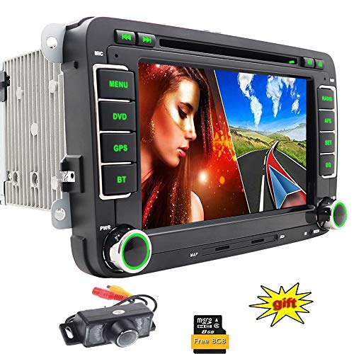 Autoradio für Volkswagen VW/Skoda/SEAT Auto DVD-Player/Navigator/mit GPS Navigation NAVI Software Bluetooth Freisprecheinrichtung Funktion 7,8 cm Touch Screen Display SD CAN-Bus Subwoofer 2DIN