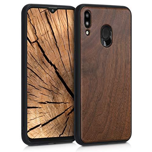 kwmobile Bumper Schutzhülle kompatibel mit Samsung Galaxy M20 (2019) - Holz Hülle Handy Hülle Cover Dunkelbraun