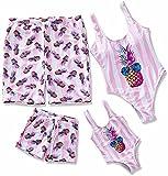 IFFEI Family Matching Swimsuit Pineapple Printed Striped Monokini One Piece Bathing Suit Beach Wear Girls: 4-5 Years Pink