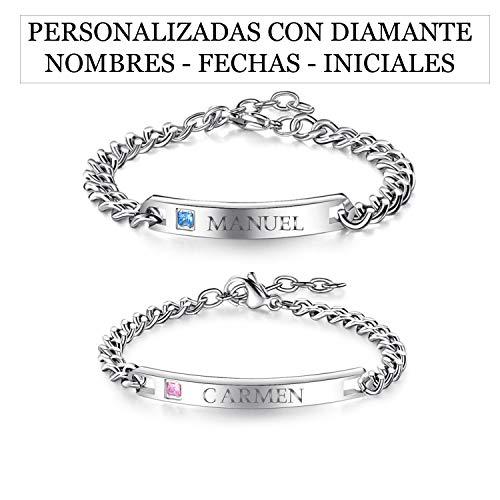 RecontraMago armbanden voor bruidspaar, personaliseerbaar met naam, verstelbaar, datumweergave, liefdesarmbanden voor dames en heren (roestvrij staal)