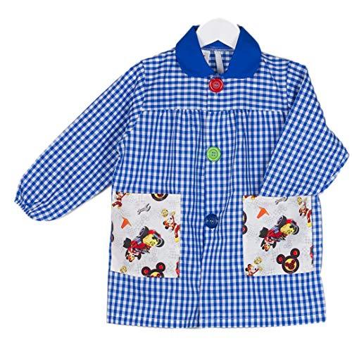KLOTTZ - Babi guardería con bolsillos de tela MICKEY. Bata colegio de manga larga Niñas color: AZUL talla: 3