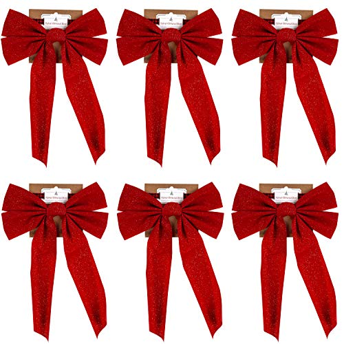 Regent Red Christmas Bow with Glitter (6 Pack) 16' X 11' Great for Tree Trimming or Decorating for The Holidays