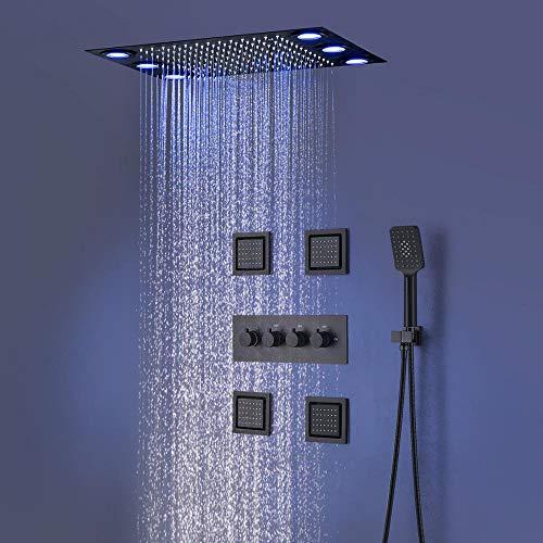 hm Duschsystem,LED Multifunktional Dusche mit konstanter temperatur,360x500 mm Rainshower Brausegarnitur,4'' Body Jet,304 Edelstahl,Thermostatregelventil,Handbrause,Duscharmatur