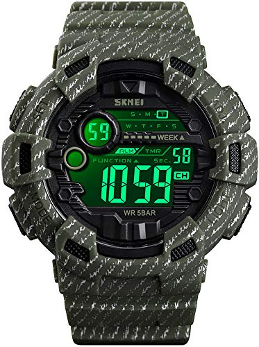 Mens Digital LED Sports Watch Military Multifunction Dual Time Alarm Countdown Stopwatch 12H/24H Time Backlight 164FT 50M Waterproof Calendar Month Day Date Watch (L-Army Green)