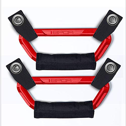 GPCA Headrest Grab Handles PRO Universal for Wrangler, Truck, Sports Car, Easy headrest Post Mount for 4X4 Off-Road Backseat Passengers. GP Back Grip Patented. (RED Aluminum)