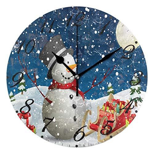FETEAM Reloj de Pared de Copo de Nieve de muñeco de Nieve de Invierno silencioso sin tictac, Relojes de Feliz Navidad con Pilas, Reloj de Escritorio Vintage de 10 Pulgadas de Cuarzo