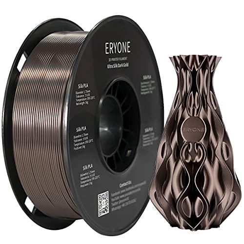 ERYONE Ultra Silk PLA Filament for 3D Printer, 1.75mm, Tolerance: ¡À0.03mm, 1kg (2.2LBS)/Spool, Dark Gold