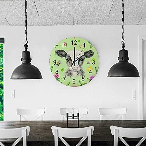 Orologio da parete in legno Silenzioso Non ticchettio vitello BumbleBee Butterflies Clover Light Green Battery Gleading Frameless Decoration Decorazione domestica da camera da letto Scuola