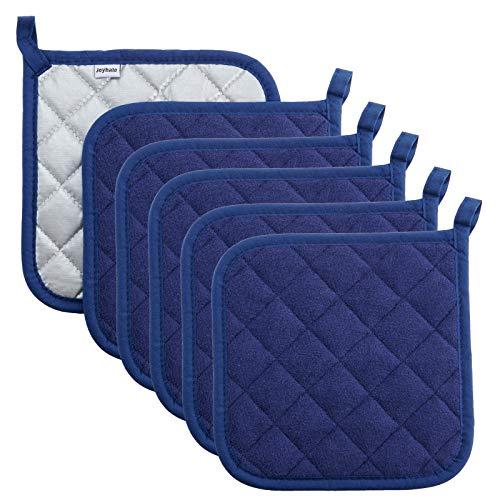 Topflappen aus 100 % Baumwolle, hitzebeständig, Topflappen zum Kochen und Backen Potholder 6 packs dunkelblau