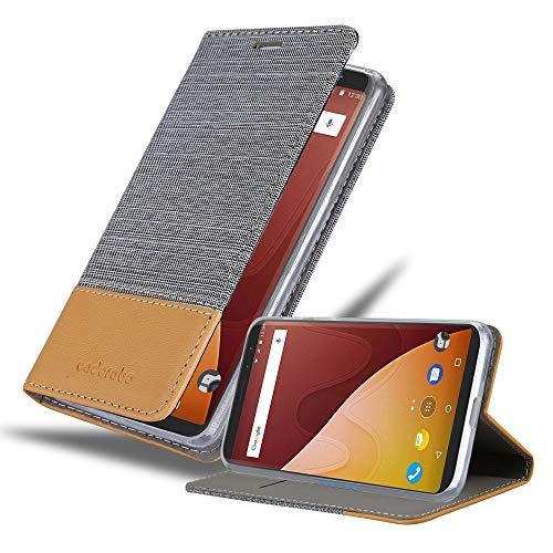 Cadorabo Hülle für WIKO View Prime in HELL GRAU BRAUN - Handyhülle mit Magnetverschluss, Standfunktion & Kartenfach - Case Cover Schutzhülle Etui Tasche Book Klapp Style