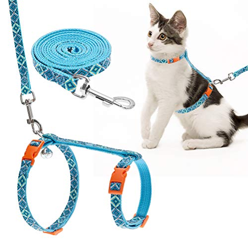 EXPAWLORER Adjustable Cat Harness with Leash Set, Escape Proof Cat Harness H Shape Cat Harness Ethnic Style Cat Harness for Cat Outside Walking.