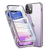 Funda Cristal Templado para iPhone 11,Estructura de Metal de adsorción magnética,[con Protector de cámara] Protección de 360 Grados Funda Carcasa Transparente para Apple iPhone 11 6.1'',Morado