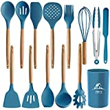 MIBOTE 14PCS Silicone Cooking Kitchen Utensils Set with Holder, Wooden Handles BPA Free Non Toxic Silicone Turner Tongs Spatula Spoon Kitchen Gadgets Utensil Set for Nonstick Cookware (Blue)