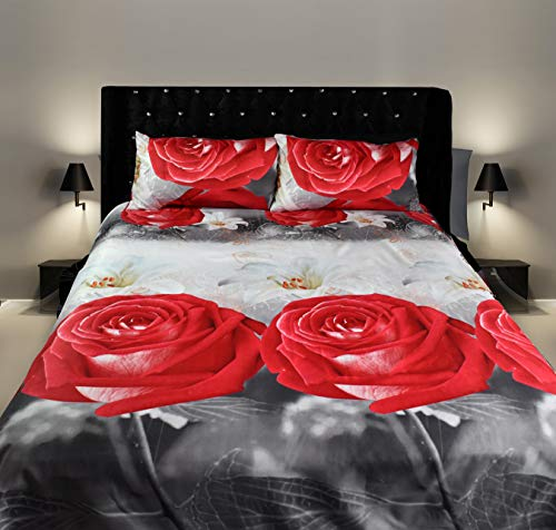 CUSHIONMANIA 3D Effect Double King Size 3 PCS Bedding Duvet Set Animal Floral Red Rose (DOUBLE, RED ROSE)