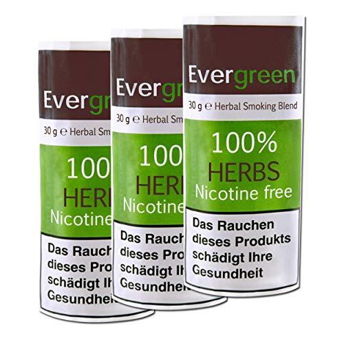 3 X Bio Kräuter Natur Räuchermischung 100% frei von Nikotin und Tabak, reichhaltig, aromatisch, feines Aroma und angenehmer, weicher Geschmack, 3 PACK Evergreen Tabakersatz 90g total