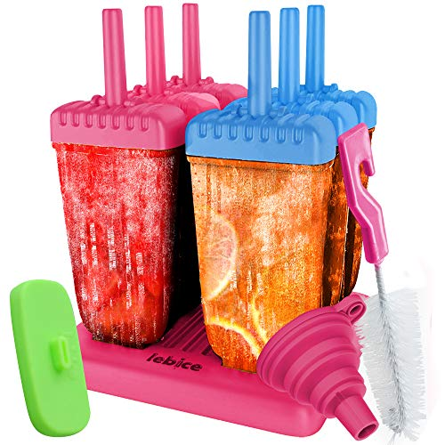 Lebice Popsicle Molds Set - BPA Free - 6 Ice Pop Makers + 1 Extra Silicone Lid + Silicone Funnel + Cleaning Brush + Recipes E-book