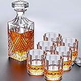 MUYEY Decantador de Whisky-Italiano Decantador de Whisky Refinado (con Tope magnífico), 6 Gafas exquisitas de Whisky, decantador de Bourbon-Exquisito conjuntivo de Regalo de Whiskey Whiskey