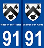 JINTORA - 2 Stickers - 2 Autocollants 91 Villebon-sur-Yvette Blason Autocollant Plaque Stickers Ville 100x45 mm
