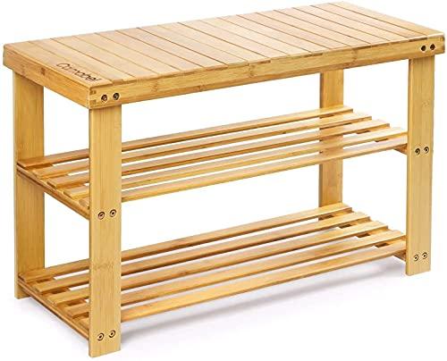 Camabel 3-Tier Schuhregal mit Sitzbank 70 x 30 x 43 cm Bambus Schuhbank Aufbewahrung Schuhregal Aufbewahrung Organizer Ladekapazität bis zu 126 kg für Flur Bad Wohnzimmer Diele