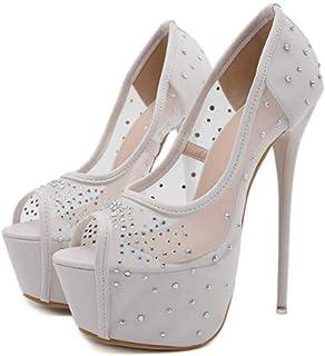 Women PeepToe Platform Sandals,Summer Hollow-Out Gauze Sandals,for Wedding, Prom, Work, Office, Dancing, Night Stiletto Heels,White,37 EU