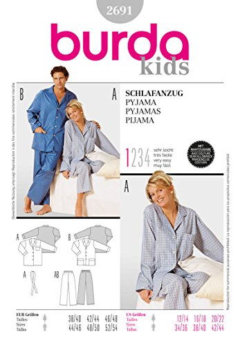 Burda 2691 Schnittmuster Schlafanzug (Damen & Herren, Gr. 38-48/44-54) – Level 1 super Easy