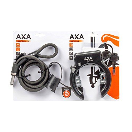 Axa Solid Plus Fietsslot voor volwassenen, uniseks, zwart, one-size