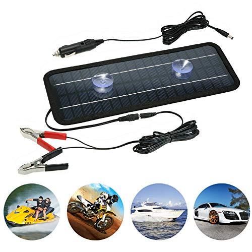 Cargador de batería de 4.5W 12V Panel solar portátil Mantenedor de batería de 5W 12V, con encendedor de cigarrillos y pinza de cocodrilo, adecuado para automóviles, barcos, motocicletas