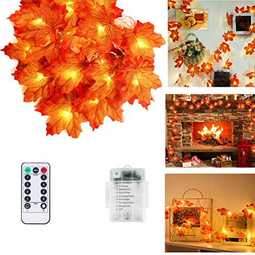 Odziezet Fall Maple Leaf LED String Lights with Remote, 20 ft 40 LED Thanksgiving Decorations Fall Garland Lights with 8...