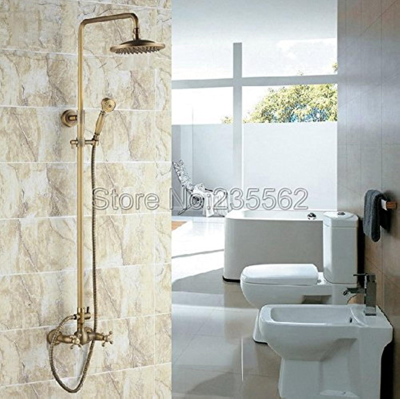 Luxurious shower Retro Regendusche Wasserhahn Set 8cm Duschkopf + Handbrause Messing antik Finish Wandhalterung Badezimmer Dusche Wasserhahn lrs 008, Antiken