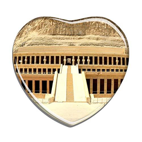 Hqiyaols Souvenir Ägypten Totentempel der Hatschepsut Luxor Kühlschrankmagnet Herzform Kristall Kühlschrank Aufkleber Magnet Reisen Geschenk Sammlerstücke Andenken