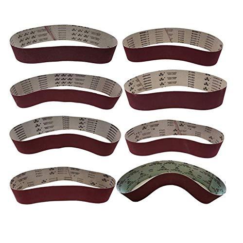 8 Pack 100 x 915 mm Sanding Belt 60 80 100 120 180 240 320 400 Grit WCIC Assortment Metal Grinding Aluminum Oxide