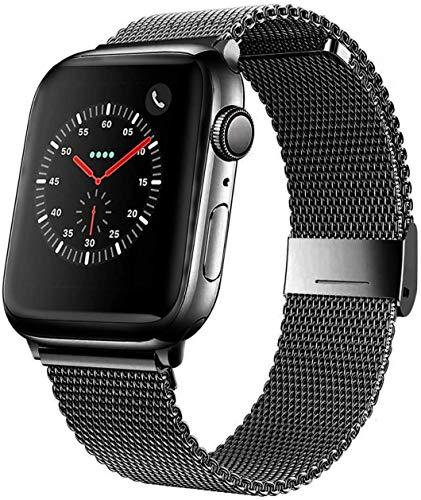 Mediatech Correa de repuesto compatible con Apple Watch, 44 mm, 42 mm, 40 mm, 38 mm, de acero inoxidable, con cierre rápido, compatible con iWatch Series 6/5/4/3/2/1 (42 mm/44 mm, color negro)