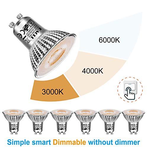 EACLL 6er Pack GU10 LED 6W 535 Lumen Leuchtmittel, Einstellbare Farbtemperatur 3000K-4000K-6000K Par16 Lampen. 3-stufiges Farbtemperaturwechsel mit Gewöhnlicher Schalter, Dimmbar ohne Dimmer.