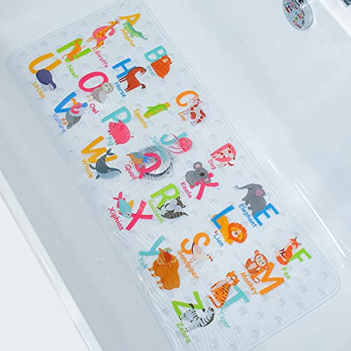 BeeHomee Alfombrilla antideslizante para bañera de dibujos animados para niños – 88 x 40 cm XL de tamaño grande antideslizante alfombrillas de ducha para niños pequeños(alfabeto)