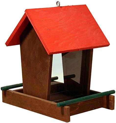 dobar Traditionelles Vogelhäuschen mit rotem Spitzdach,Wildvogel-Futterstation mit Futtersilo zum Aufhängen, 16 x 21 x 20 cm, Kiefer