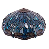 Tiffany Lamp Shade Replacement W16H7 Inch Sea Blue Stained Glass Dragonfly Lampshade for Table Lamps Floor Lamp Ceiling Fixture( 3 Hooks )Pendant Hanging Light S147 WERFACTORY Home Office Decoration