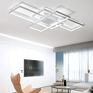 LEDシーリングライト 8 -10畳 60W リモコン付き 無段階調光高輝度5400ルーメン 取付簡単 照明器具おしゃれ シーリングライト天井照明 寝室 洋室/和室/居間/廊下/台所/洗面所などに適用 (80*45*9 cm) (ホワイト)