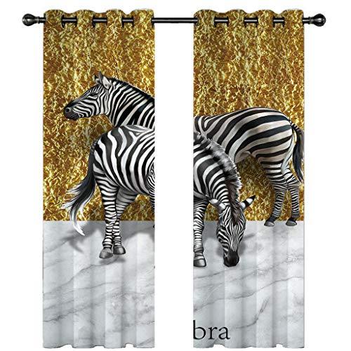 Gordijn geel, gouden achtergrond, zebra blackout modern minimalistisch (59 * 65in, polyestervezel)