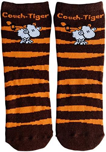 Die Geschenkewelt 45609 Zauber-Socken, mit sheepworld Schaf, Couch-Tiger Geschenk-Artikel, 80% Baumwolle, 15% Nylon, 5% Elastan, Orange, Größe 41-46