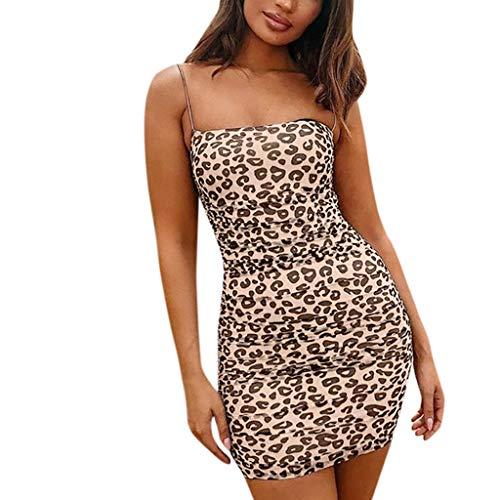"""JXQ-N Damen Kleider, Damen Camisole Kleid Rückenfrei Schlank Leopard Rock Elastisch Minikleid Ã""""rmellos Kleidung Abendkleider Partykleid Strandkleid"""